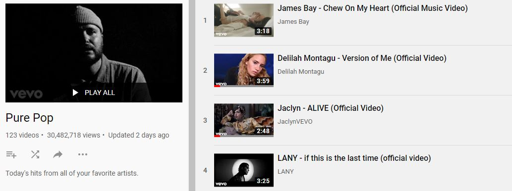 "VEVO Pure Pop playlist ft. Jaclyn's official ""ALIVE"" music video"